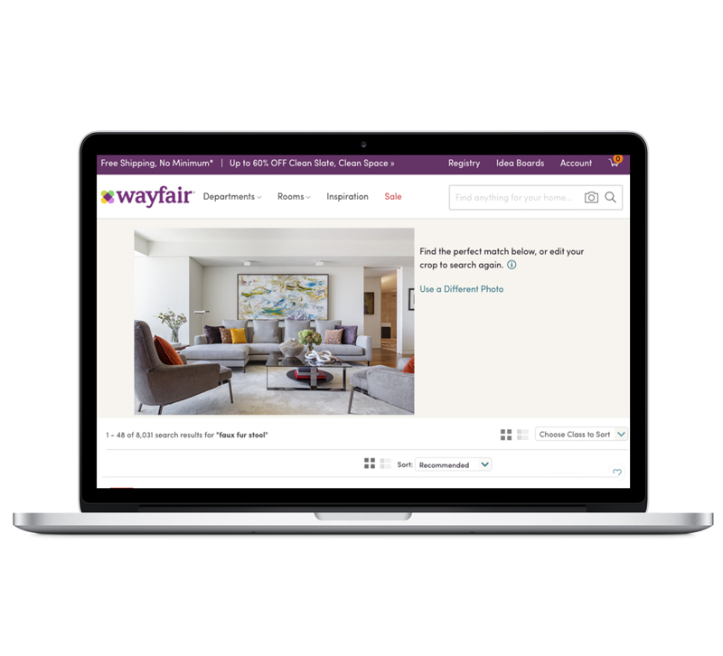 Wayfair's visual search tool allows users to upload a photo and instantly find exact or similar products.