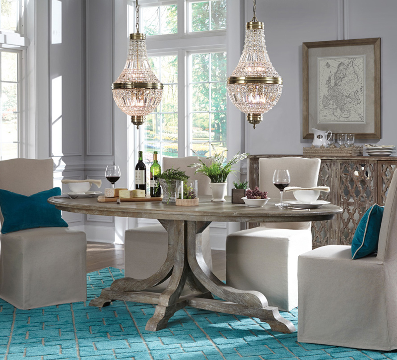 Classic Homeu0027s Aimee Dining Set With Two Chandeliers