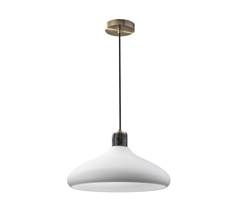 Astor pendant with a white shade, black marble accented socket and brass plate from Adesso Home