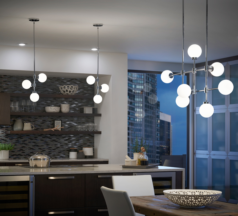 Aura pendants hanging in urban kitchen and above dining room table pendants from kichler lighting
