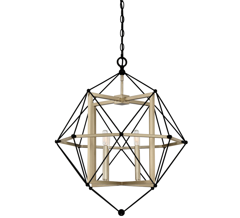 Division pendant with black outer rods and a gold frame with two lights from Quoizel