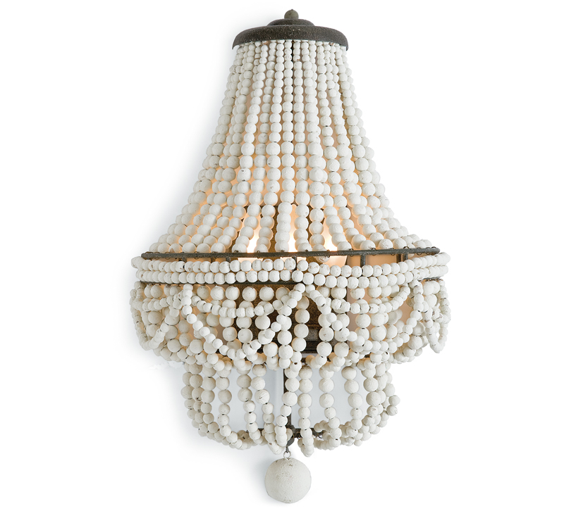 Malibu wall sconce with wooden beads in Weathered White from Regina Andrew Design