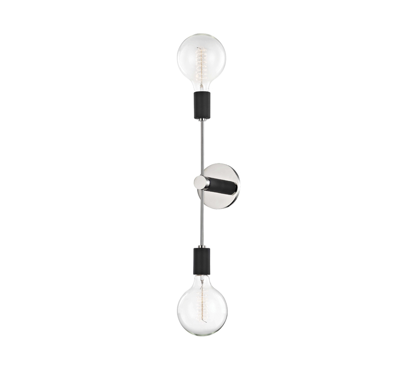 Astrid wall sconce with one chrome band with a light bulb on each end from Hudson Valley Lighting's Mitzi Collection