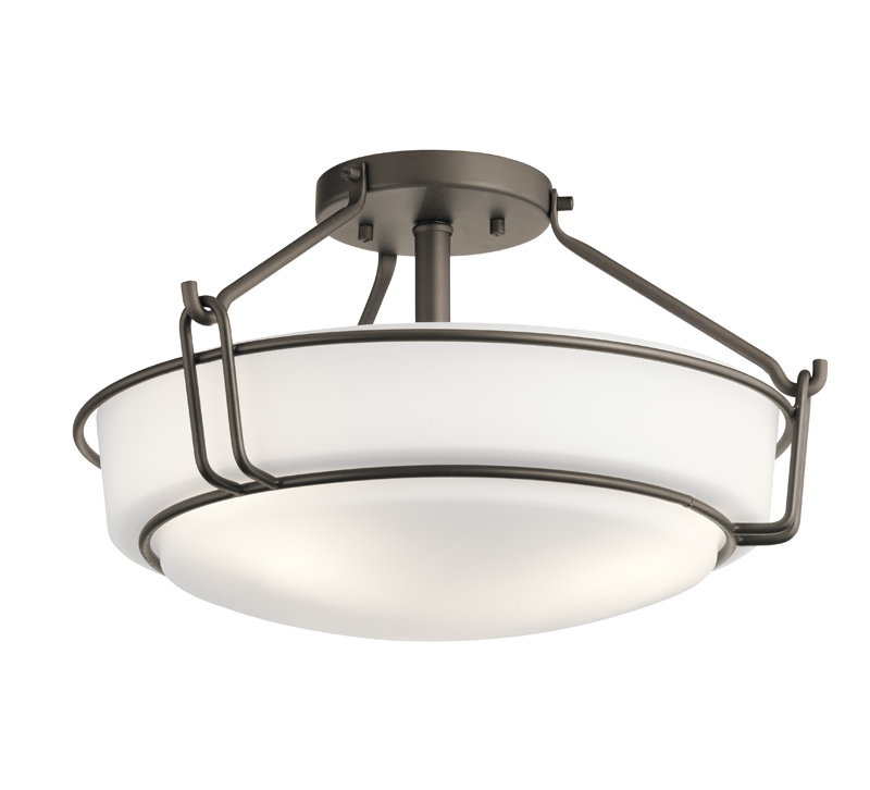 Alkire Semi-Flush Mount with three lights and finished in Olde Bronze from Kichler Lighting