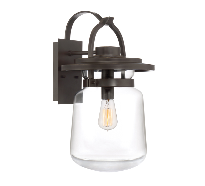 LaSalle outdoor lantern with a curved arm in Western Bronze and a glass bowl surrounding the light bulb from Quoizel