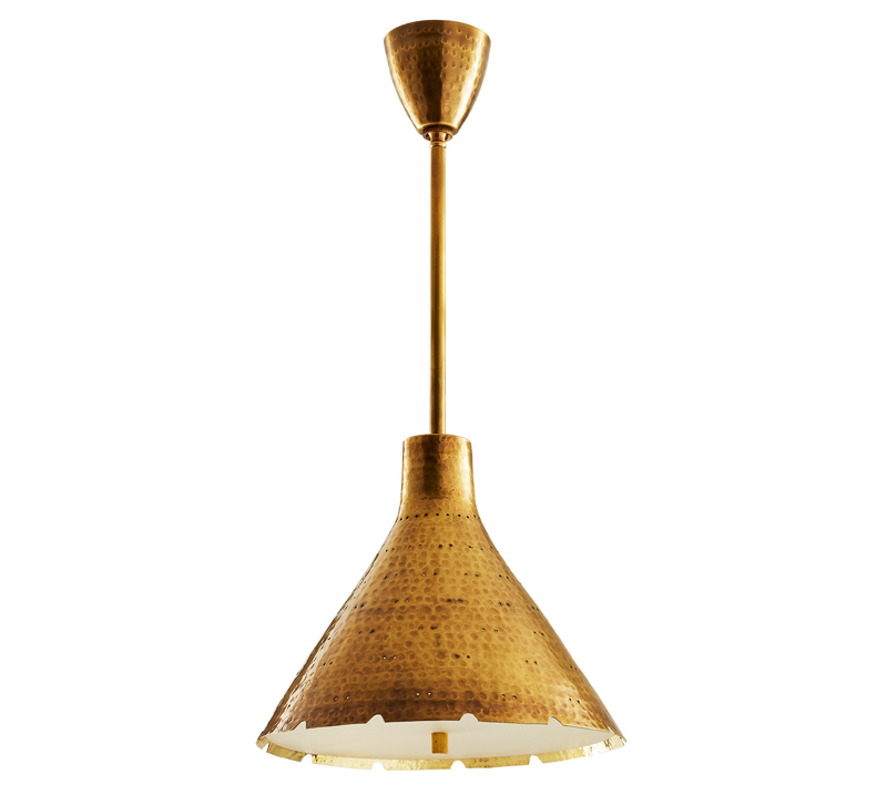 Kimberly Pendant with a cone-shaped shade in gold from Arteriors Home