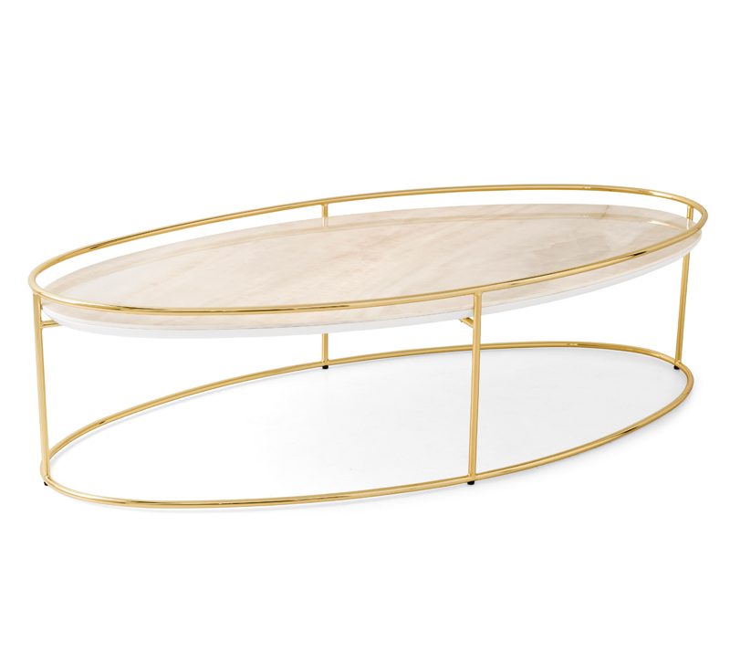 Atollo Coffee Table with a gold, oval-shaped frame and a glass top from Calligaris