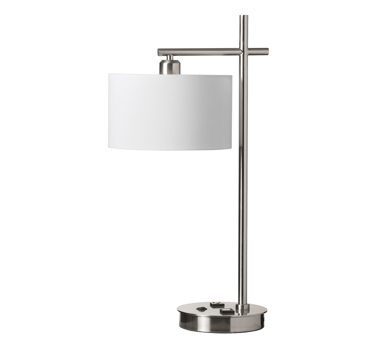 Incandescent Table Lamp with USB Port and Receptacle | Lighting ...