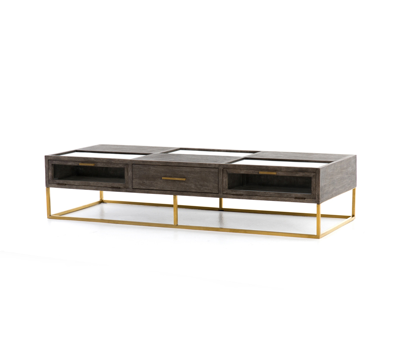 Andreas Coffee Table with a brass base and a wood top with one drawer from Four Hands