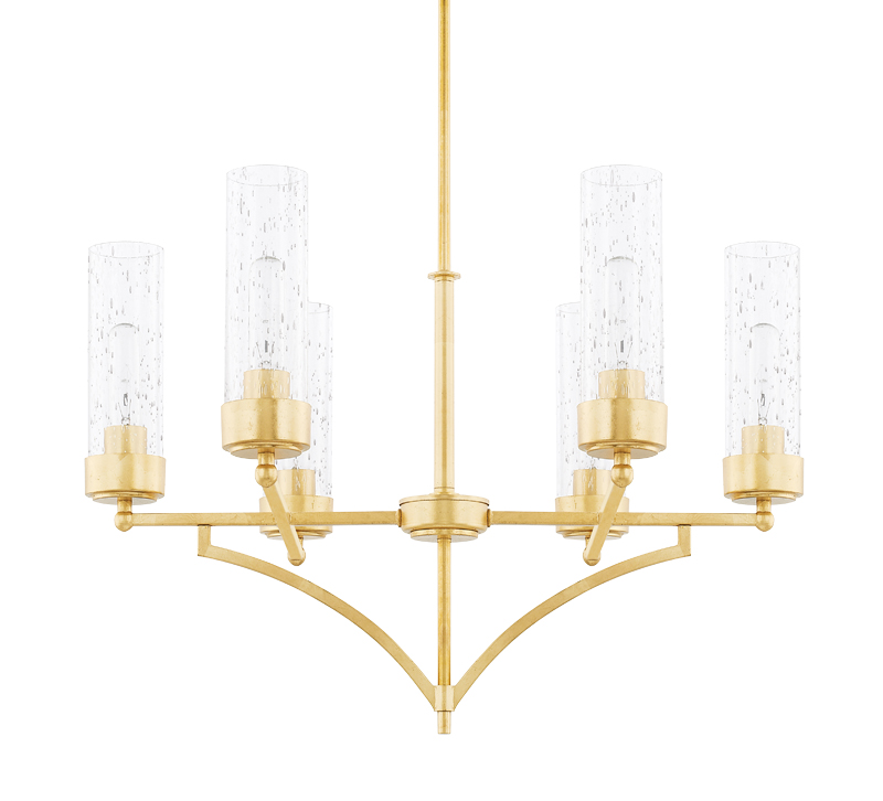 Regan chandelier with six arms and bulbs surrounded by seeded glass and all finished in gold from Capital Lighting Fixture Co