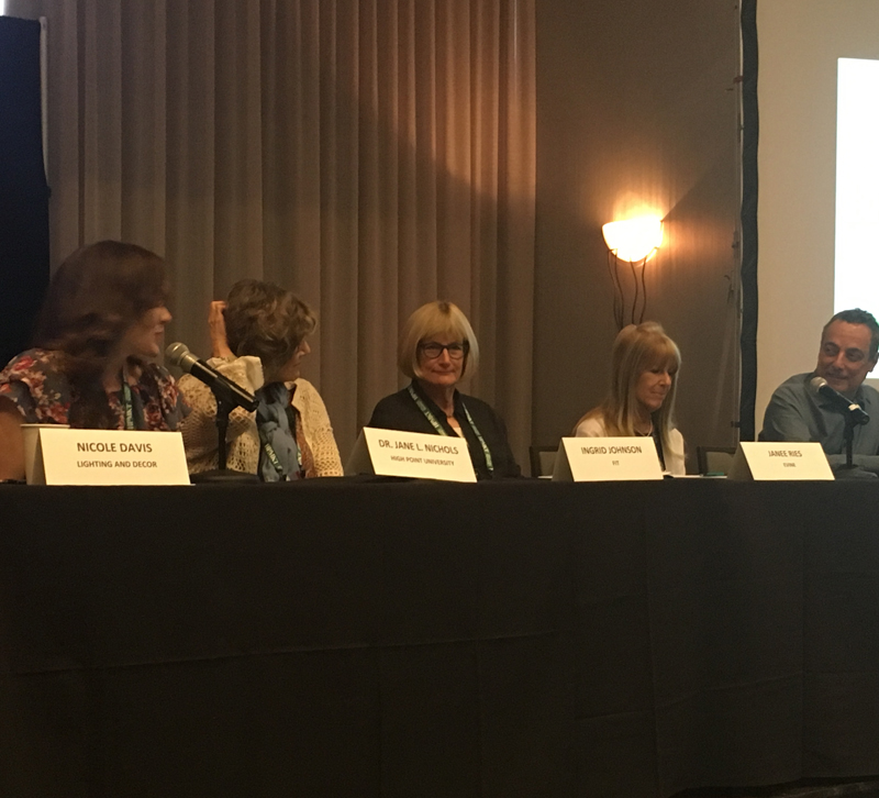Panel discussion on the education of design, moderated by Nicole Davis of Lighting & Decor