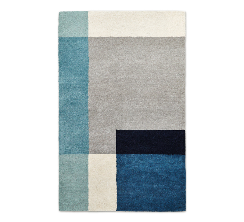 Element color block area rug in blues, teals, black, gray and ivory from Gus Modern