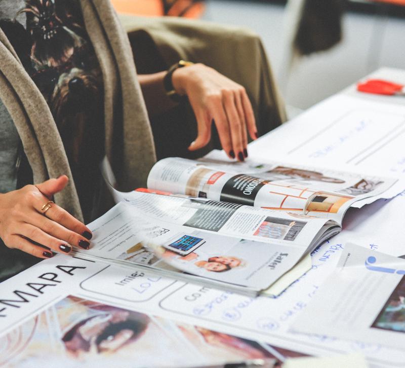 Woman reading magazine