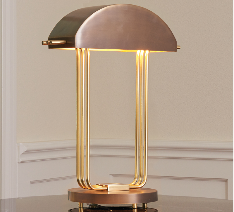 Art deco table lamp furniture lighting decor art deco table lamp with domed metal shad and brass neck from global views aloadofball Choice Image