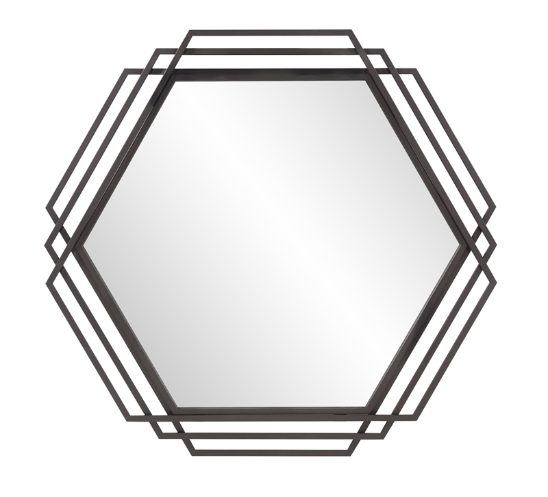Raven hexagonal mirror with surrounding hexagon frames finished in black from Howard Elliott