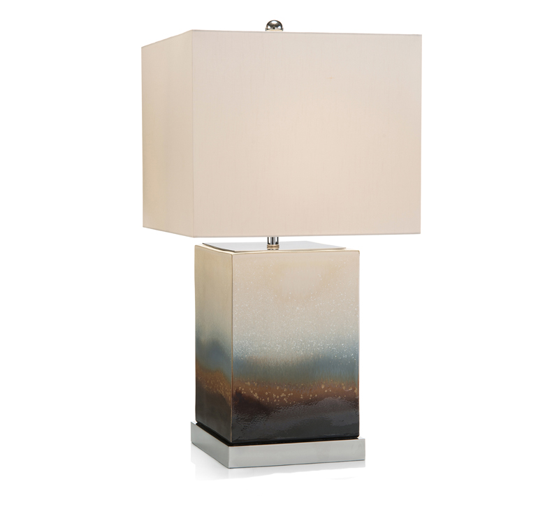 Square-shaped Terra Misty Blue and White Lamp from John-Richard