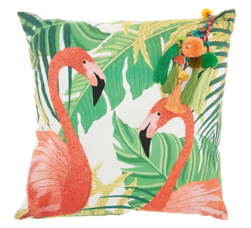 Royal Palm Pillow will two flamingos on it in front of palm leaves with a tassel on the side from Nourison