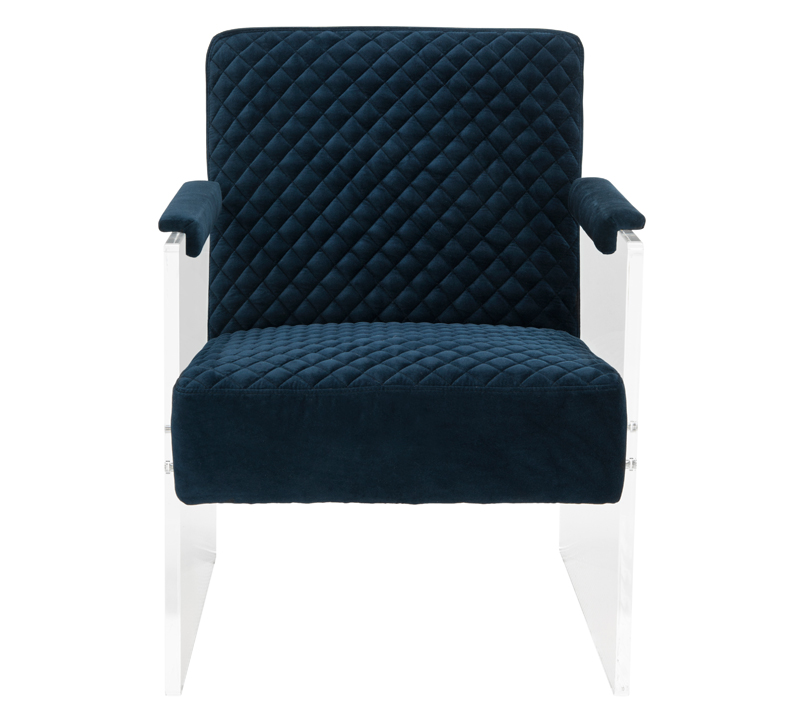Malena Acrylic Armchair In Diamond Printed Blue Velvet From Safavieh