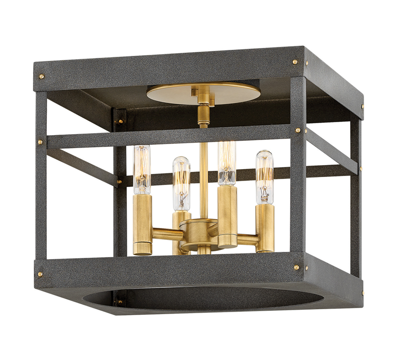 Porter Flush Mount in Matte Black with Heritage Black-finished hardware and Edison bulbs from Hinkley Lighting