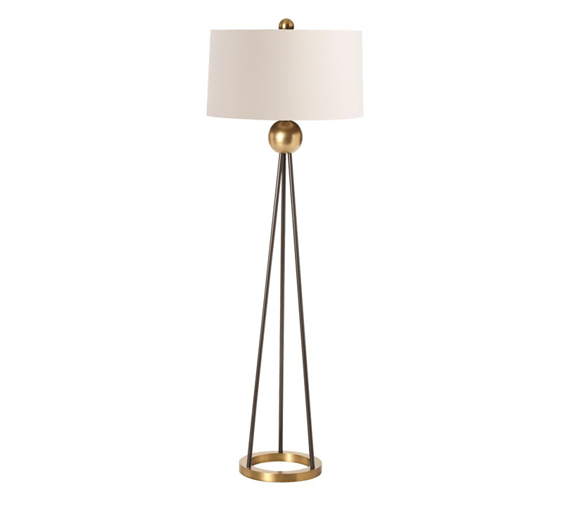 Handley floor lamp with three black iron rod as a base with ivory shade