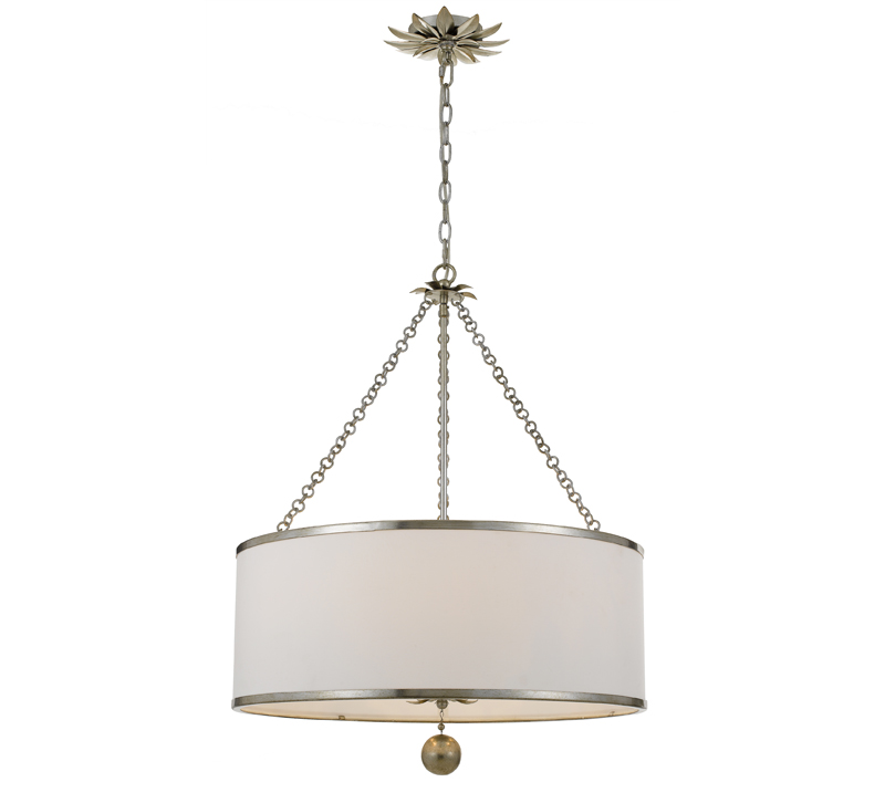 Broche chandelier with wrought iron details and write drum shade from Crystorama
