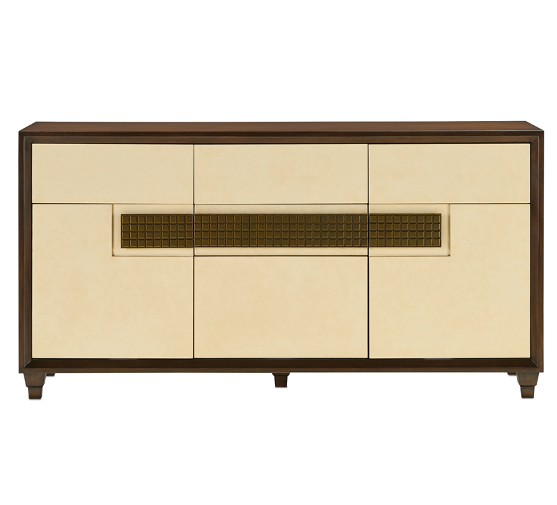 Channing credenza with a Bourbon-stained mahogany on the exterior and cream-colored doors from Currey & Company