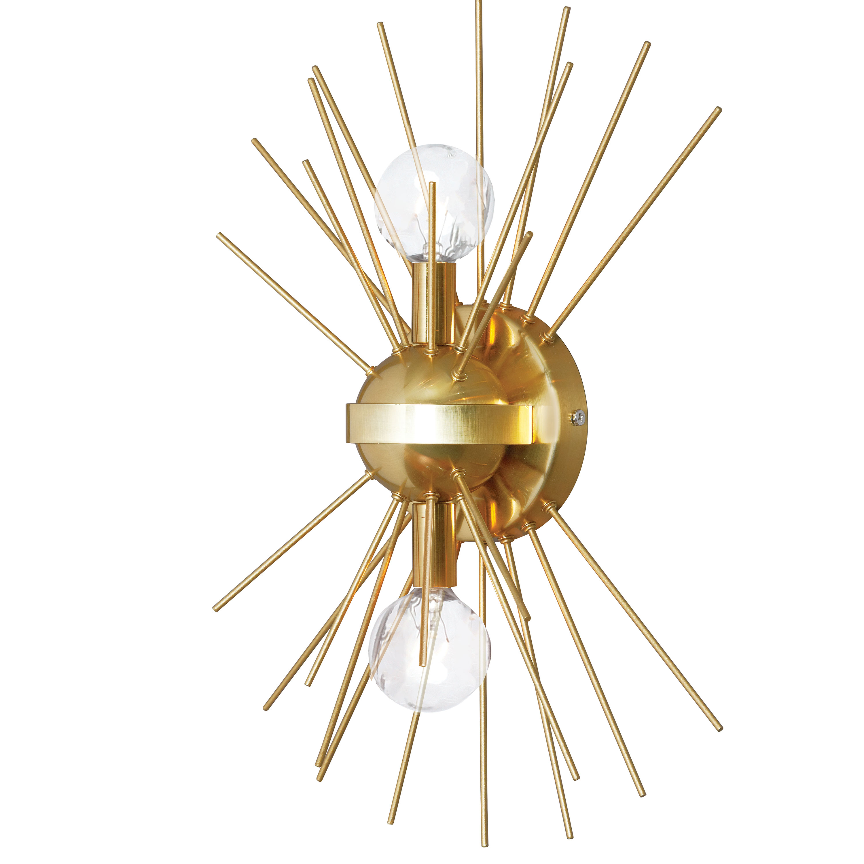 Vega sconce finished in gold with sputnik-like spikes from Dainolite