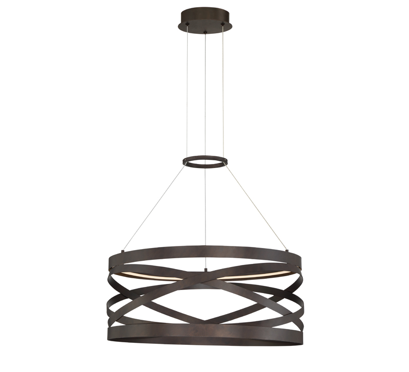 Circular bronze Avita chandelier with an LED diffuser from Eurofase