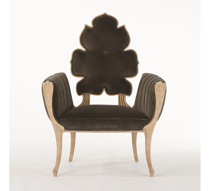 Leaf-back Wiggle chair in gold and brown velvet fabric from Global Views