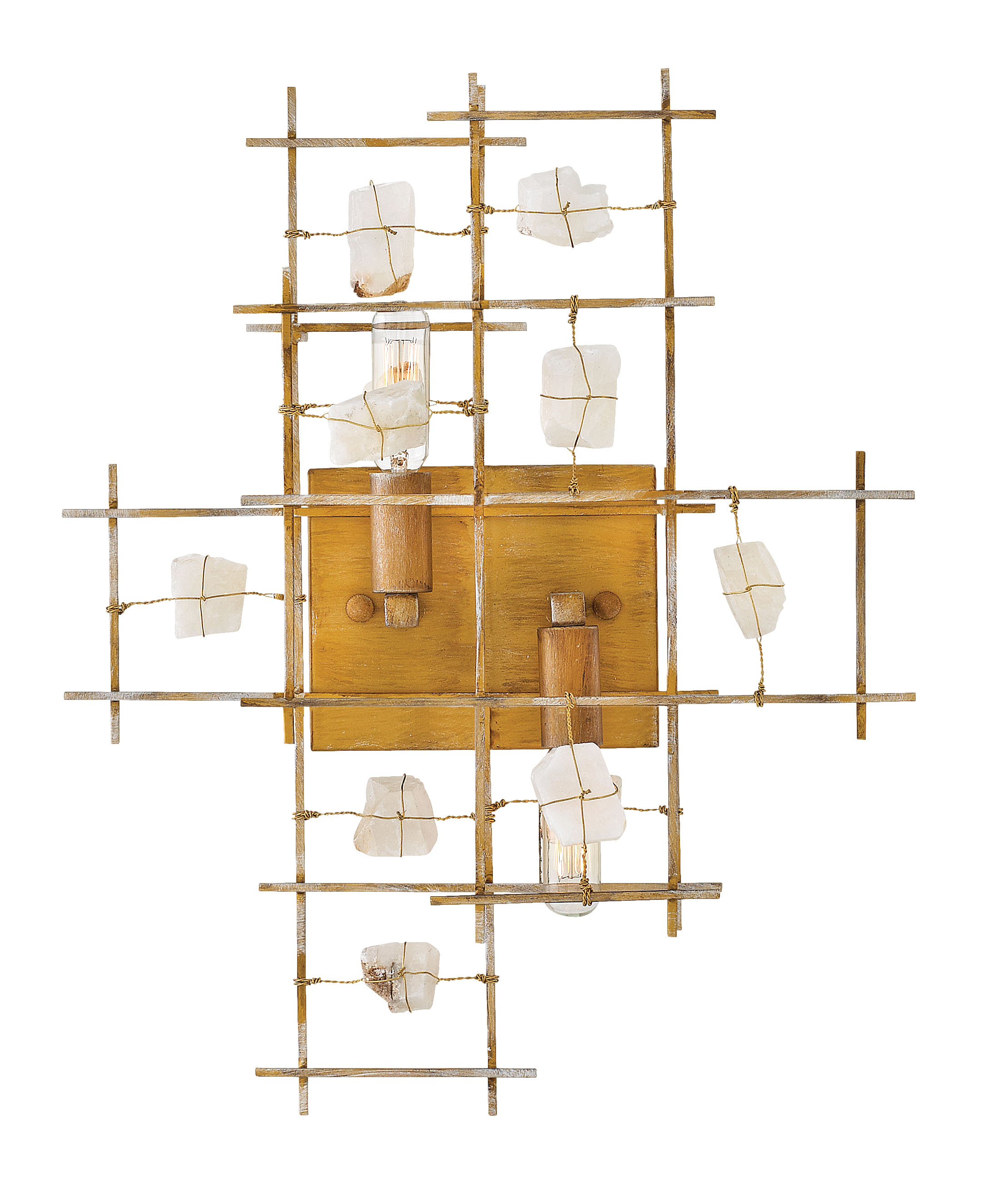 Petra sconce with natural crystals held by wires from Frederick Ramond for Hinkley Lighting