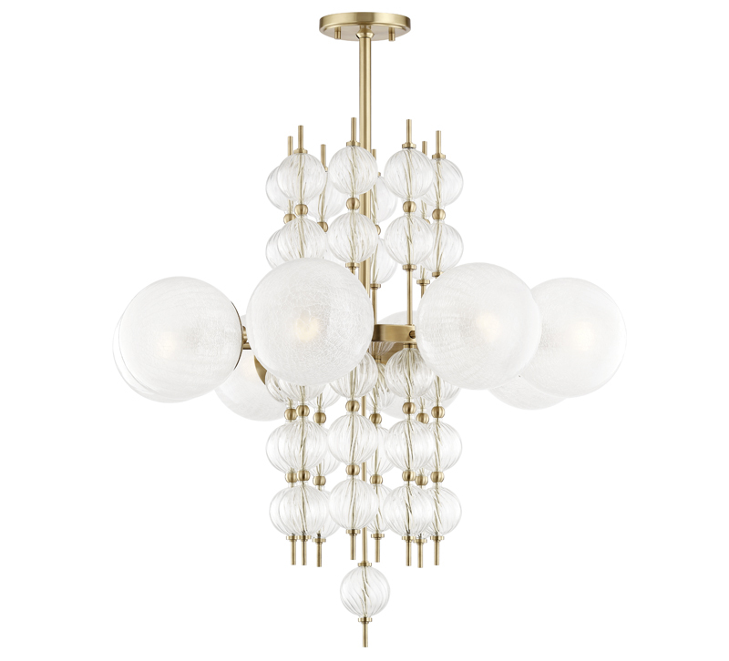 Feeling bubbly orb chandeliers furniture lighting decor calypso chandelier made of a cylindrical tower of small glass orbs surrounded by a halo of aloadofball Images