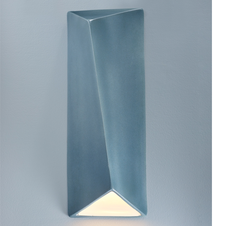 Ambiance blue ceramic outdoor LED sconce from Justice Design Group