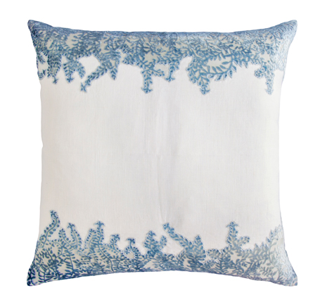kevin o'brien pillow white blue ferns