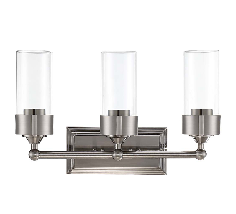 Three-light Esquire vanity light with silver backplate from Luminance