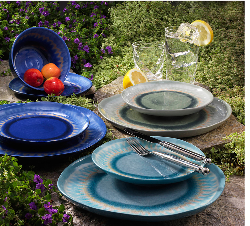 Dark blue, light blue and gray plates and bowls from Merritt Designs
