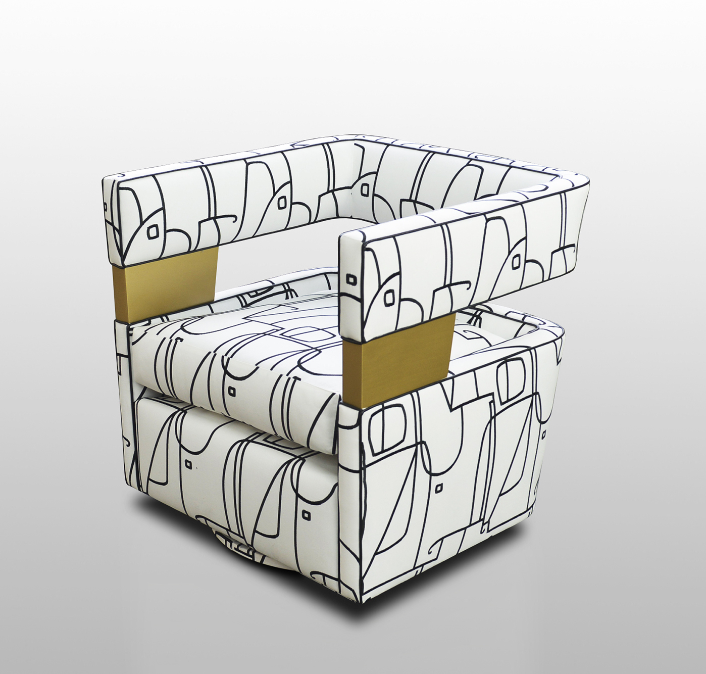 white chair with black sketch line pattern