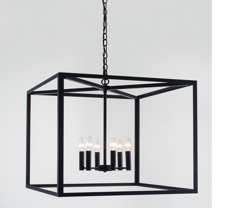 Judith black square cage with six lights from Norwell