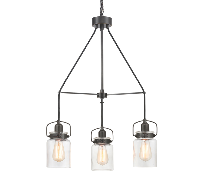 Calhoun fixture with three bulbs surrounded by glass and finished in Matte Black from Progress Lighting
