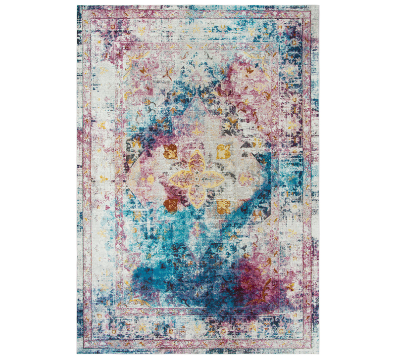 Traditional-styled Princeton area rug with blending blues, pinks, purples and yellows from Rizzy Home