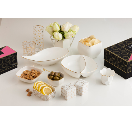 rosanna bar tableware white and gold