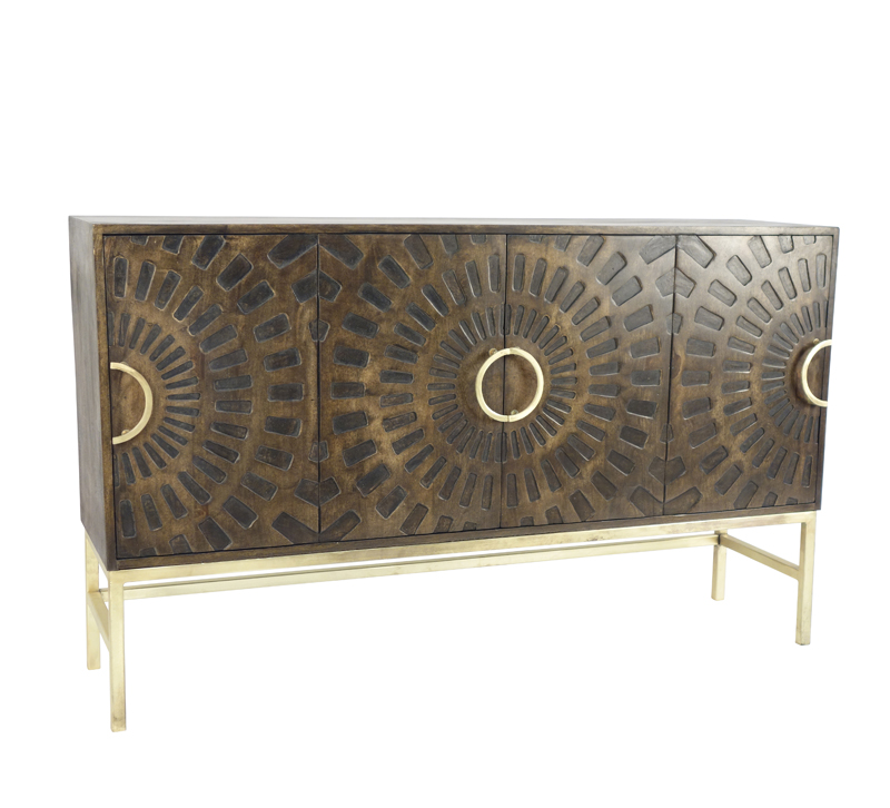 Carved Wood four-door cabinet with brass accents and legs from Sagebrook Home
