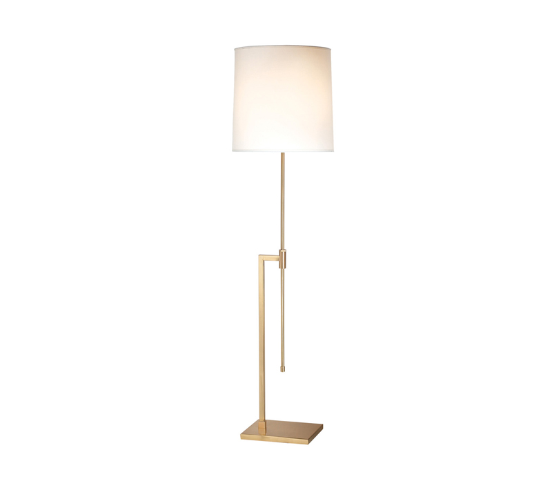 Palo floor lamp with a brass base and a linen drum shade from Sonneman — A Way of Light