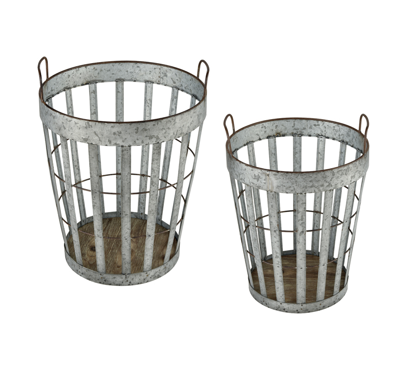Two metal Applejack baskets from Sterling Home