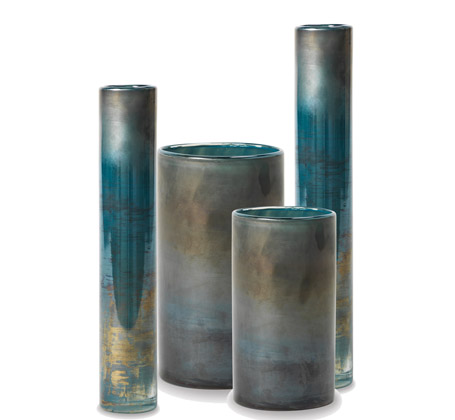 Viterra vases reactive glaze finish green blue