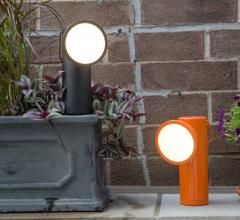 The M Lamp is cordless and battery-powered, maximizing portability.