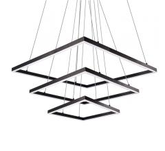 PIazza chandelier with thrq squares hanging on above the other from largest to smallest and hung by thin cables from Kuzco Lighting