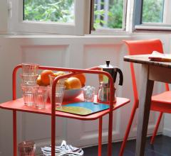 Dining room ideas featuring the red Alfred bar cart from Fermob