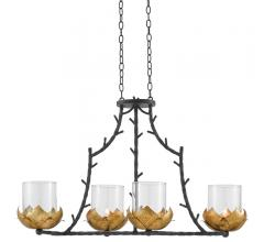 Water-Lily Rectangular Chandelier with branch-like arms and gold-finished leafs surrounding the four lights from Currey & Co.