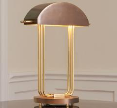 Art Deco table lamp with domed metal shad and brass neck from Global Views