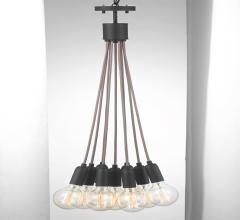 Cirro Pendant with nine hanging lights from a brown cord from Progress Lighting